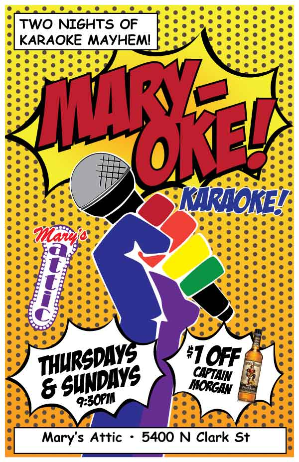 MaryOke-Karaoke is our weekly karaoke night Every Thursday and Sunday night at 9:30pm