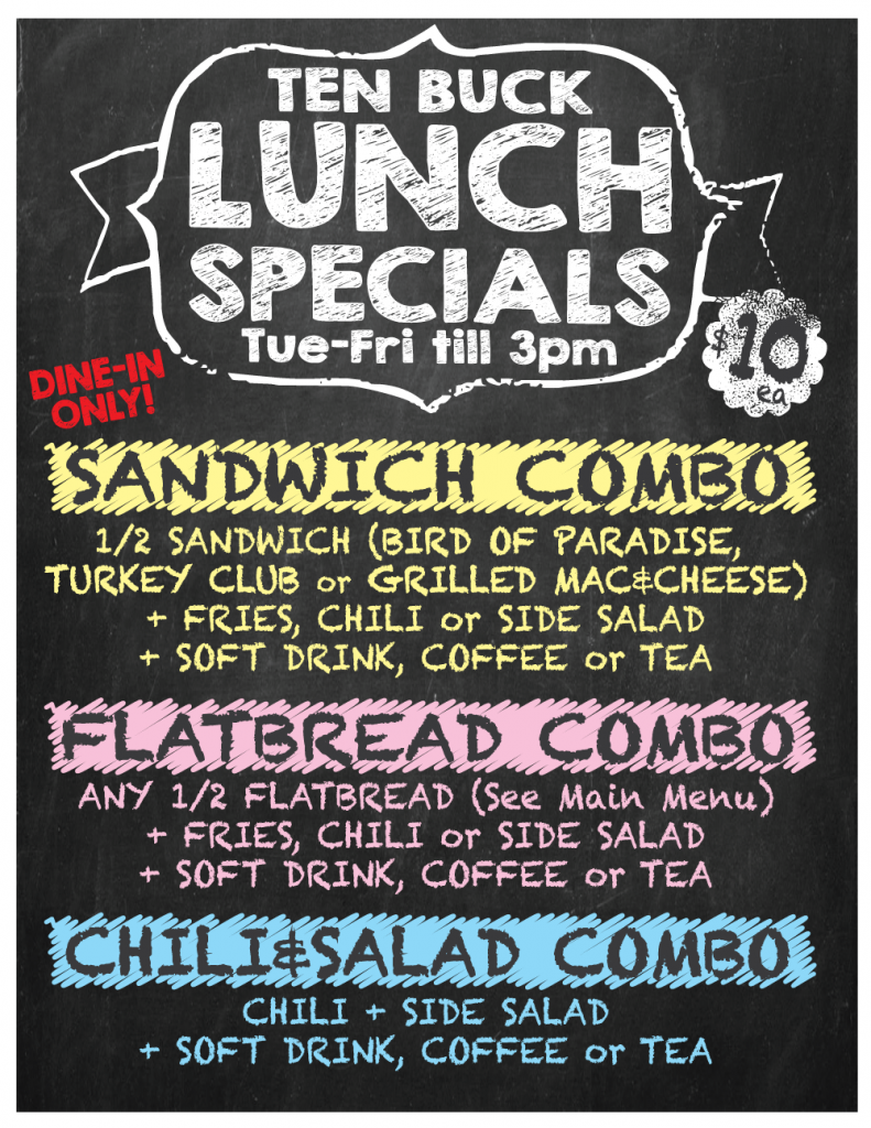 $10 Lunch Special available Tuesday - Friday from noon till 3pm