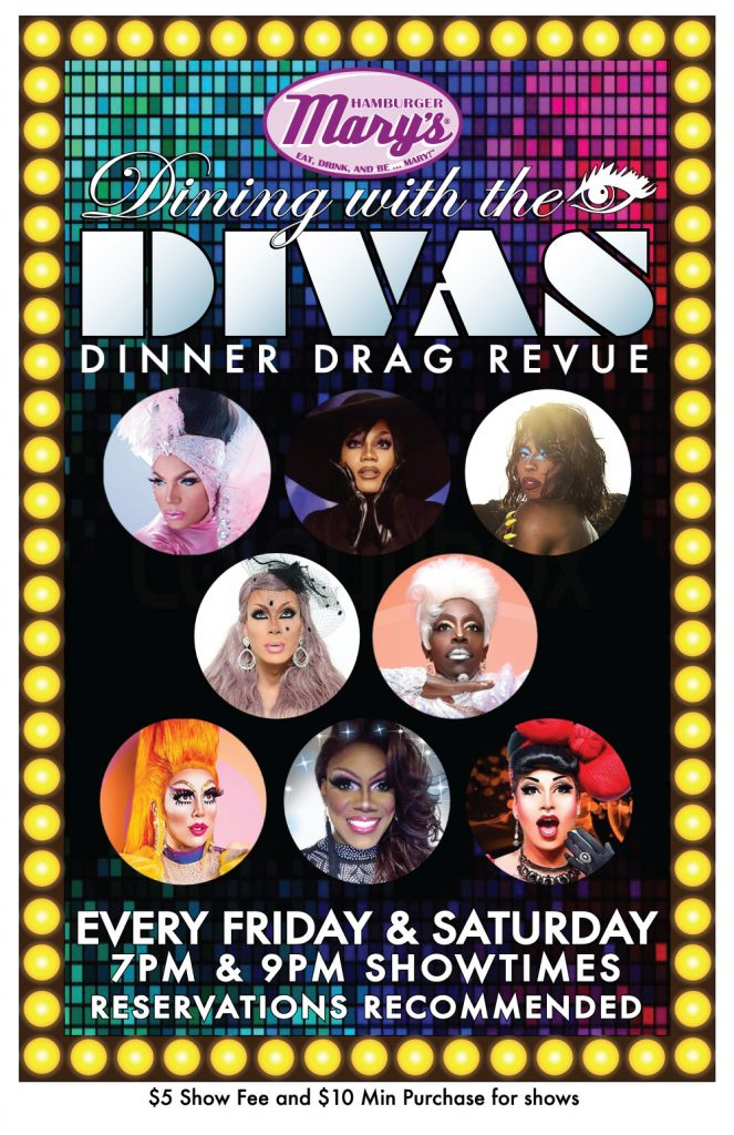 Dining with the Divas poster. Two shows 7 & 9pm