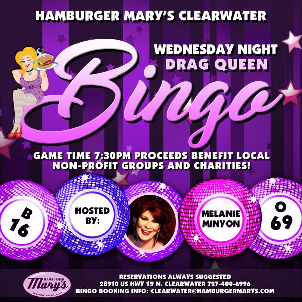Wednesday Night Drag Queen Bingo Hosted By Melanie Minyon. Game time 7:30pm