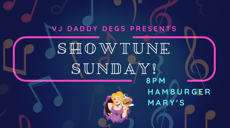 Showtune Sundays at 8pm, blue graphic with music notes