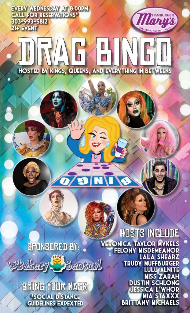 Poster image for drag bingo, multi colored with photos of the rotating hosts of the show