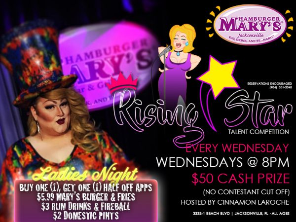 Rising star talent competition every Wednesday