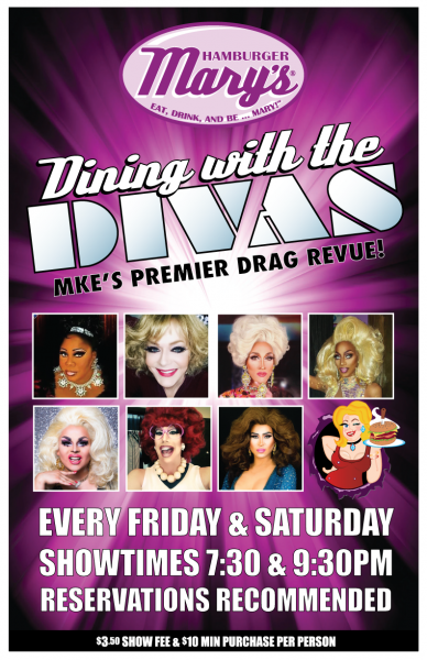 Dining with the Divas... every Friday and Saturday night. Two shows 7:30 and 9:30pm
