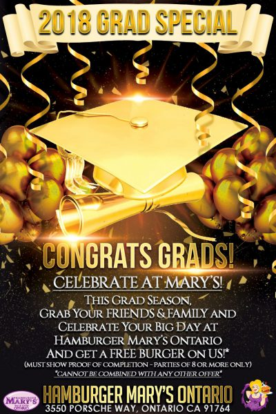 2018 Grads Special - Celebrate at Marys