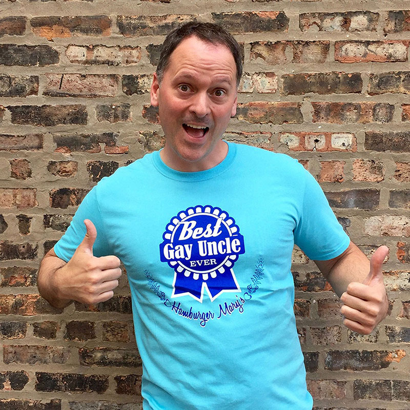 man wearing a blue best gay uncle t-shirt